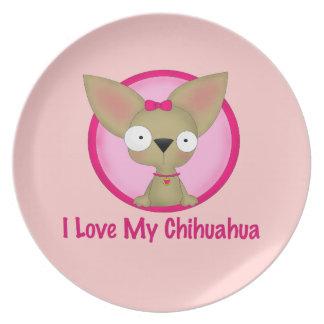 I Love My Chihuahua (Pink) Plate