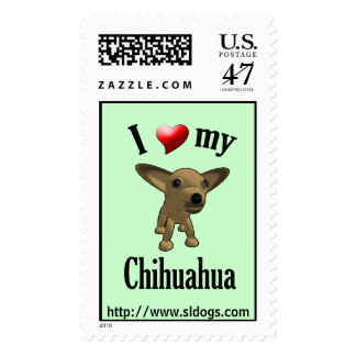 I Love My Chihuahua Postage Stamp