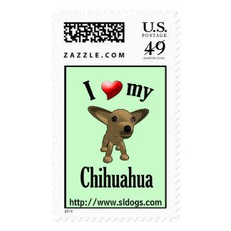 I Love My Chihuahua Postage Stamp