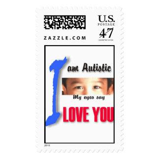 I love my child with autism - unique stamp design