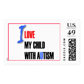 I love my child with autism - unique stamp design