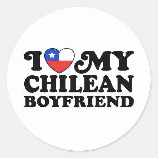 I Love My Chilean Boyfriend Classic Round Sticker