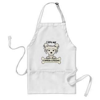 I Love My Chinese Crested Adult Apron