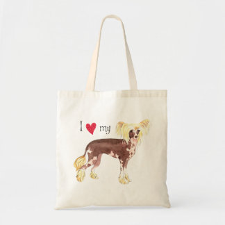 I Love my Chinese Crested Canvas Bags