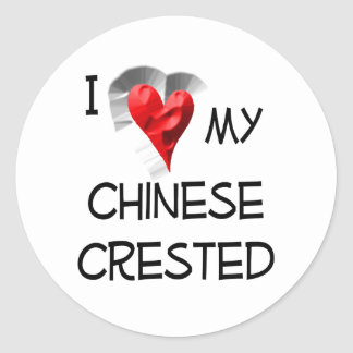 I Love My Chinese Crested Classic Round Sticker