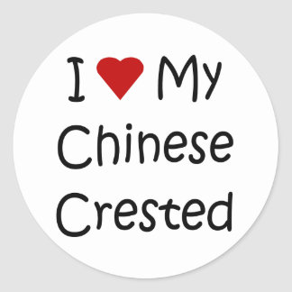 I Love My Chinese Crested Dog Lover Gifts Round Sticker