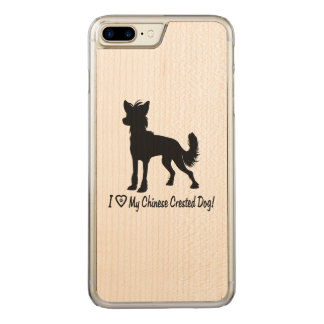 I Love My Chinese Crested Dog Paw Heart Carved iPhone 7 Plus Case