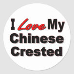 I Love My Chinese Crested Dog Stickers