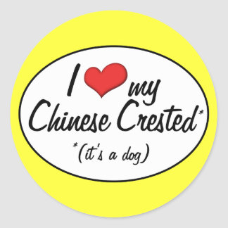 I Love My Chinese Crested (It's a Dog) Stickers