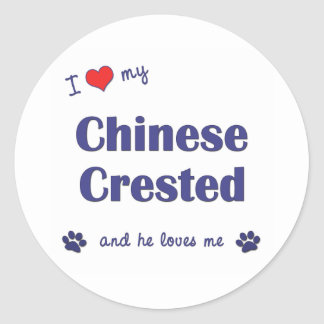 I Love My Chinese Crested (Male Dog) Round Stickers