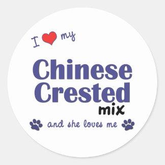 I Love My Chinese Crested Mix (Female Dog) Round Sticker