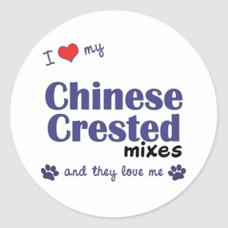 I Love My Chinese Crested Mixes (Multiple Dogs) Round Stickers