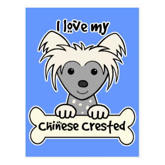 I Love My Chinese Crested Postcard
