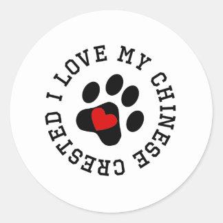 I Love My Chinese Crested Round Sticker