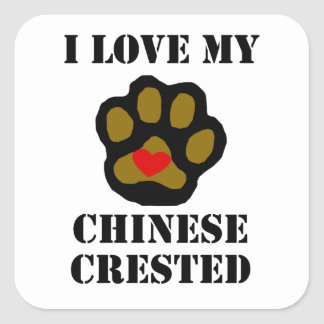 I Love My Chinese Crested Square Stickers