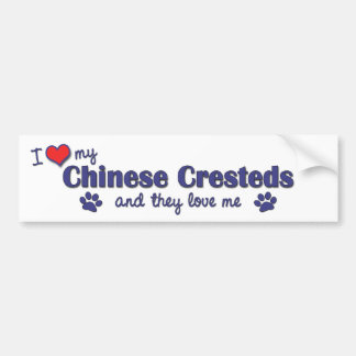 I Love My Chinese Cresteds (Multiple Dogs) Bumper Sticker