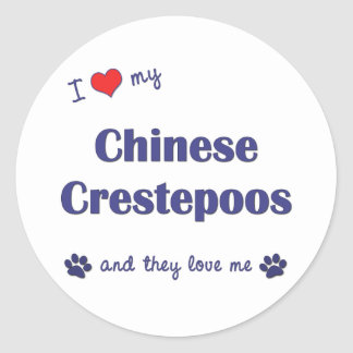 I Love My Chinese Crestepoos (Multiple Dogs) Classic Round Sticker
