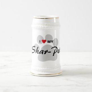 I Love My Chinese Shar-Pei Pawprint Beer Stein