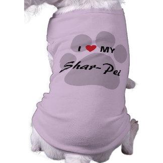 I Love My Chinese Shar-Pei Pawprint Doggie T Shirt