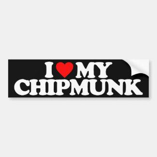 I LOVE MY CHIPMUNK BUMPER STICKER