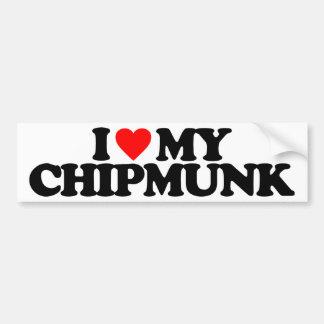 I LOVE MY CHIPMUNK CAR BUMPER STICKER