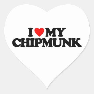 I LOVE MY CHIPMUNK HEART STICKER