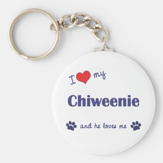 I Love My Chiweenie (Male Dog) Keychain