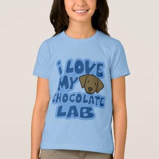 I Love My Chocolate Lab Girl's Ringer TShirt