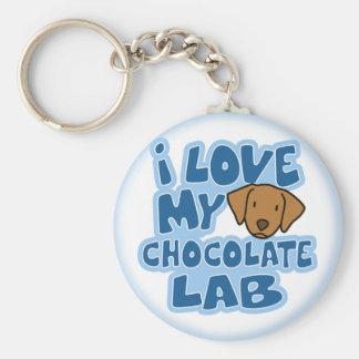 I Love My Chocolate Lab Keychain