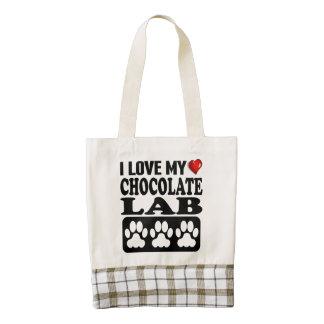 I Love My Chocolate Lab Zazzle HEART Tote Bag