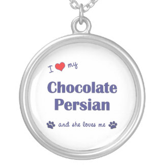 I Love My Chocolate Persian (Female Cat) Silver Plated Necklace