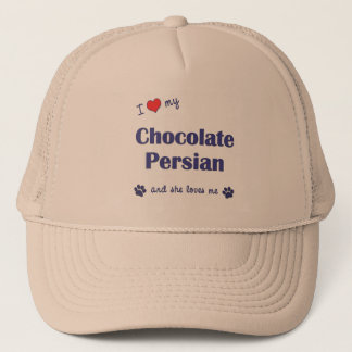I Love My Chocolate Persian (Female Cat) Trucker Hat