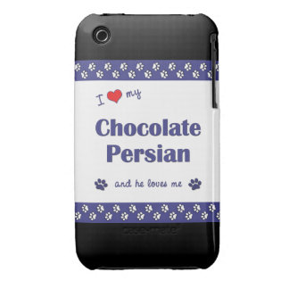 I Love My Chocolate Persian (Male Cat) iPhone 3 Cover