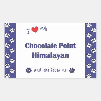 I Love My Chocolate Point Himalayan (Female Cat) Rectangular Sticker