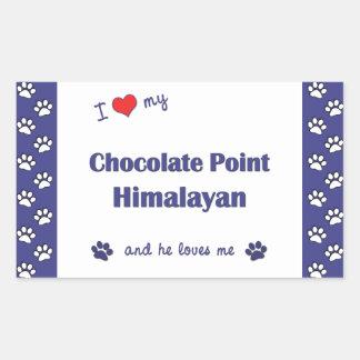 I Love My Chocolate Point Himalayan (Male Cat) Rectangular Sticker
