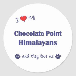 I Love My Chocolate Point Himalayans (Multi Cats) Classic Round Sticker