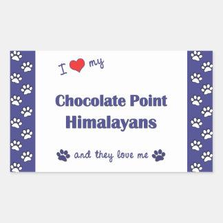 I Love My Chocolate Point Himalayans (Multi Cats) Rectangular Sticker