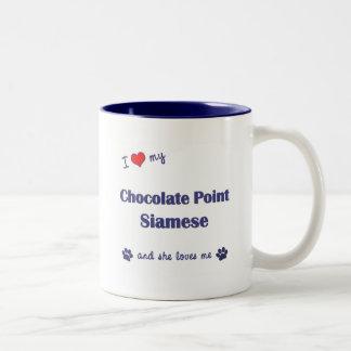 I Love My Chocolate Point Siamese (Female Cat) Two-Tone Coffee Mug