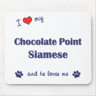 I Love My Chocolate Point Siamese (Male Cat) Mouse Pad