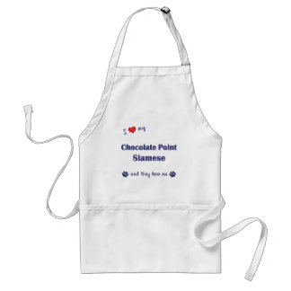 I Love My Chocolate Point Siamese (Multiple Cats) Adult Apron