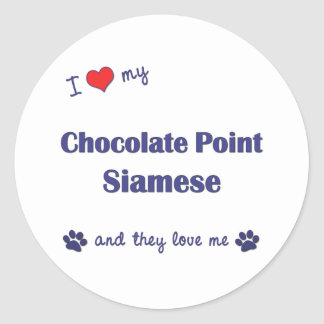I Love My Chocolate Point Siamese (Multiple Cats) Classic Round Sticker