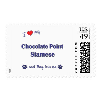 I Love My Chocolate Point Siamese (Multiple Cats) Postage