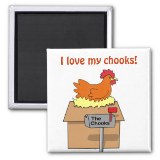 I Love My Chooks House Chicken on House Cartoon Magnet