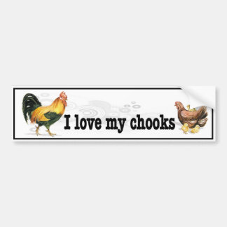 I Love My Chooks with rooster, hen and chickens Bumper Sticker