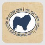 I Love My Chow Chow Square Stickers