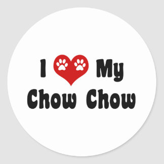 I Love My Chow Chow Round Stickers