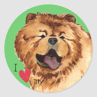 I Love my Chow Classic Round Sticker