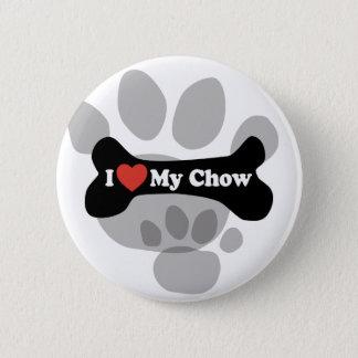 I Love My Chow - Dog Bone Button