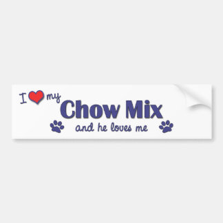 I Love My Chow Mix (Male Dog) Bumper Stickers