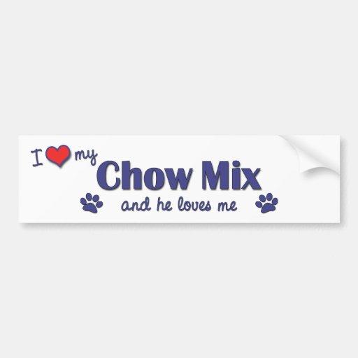 I Love My Chow Mix (Male Dog) Car Bumper Sticker